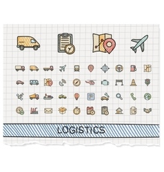Logistic hand drawing line icons doodle vector image