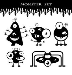 Silhouettes of cute doodle monsters-bacteria vector image