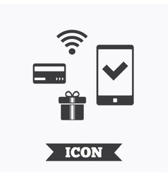Mobile payments icon smartphone credit card vector