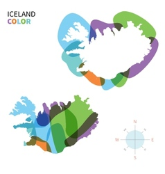 Abstract color map of iceland vector