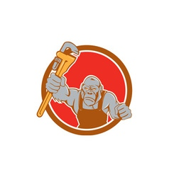 Angry gorilla plumber monkey wrench circle cartoon vector