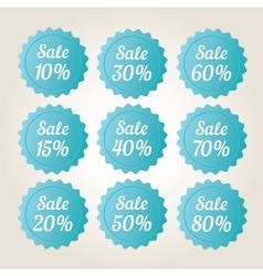 Blue sale badge stickers set vector image