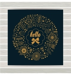 Circle floral wreath design on wood table vector