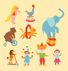 circus funny animals set of icons cheerful vector image