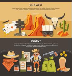 Cowboy horizontal banners vector