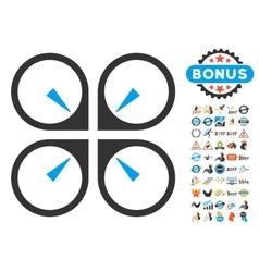 Hover drone icon with 2017 year bonus symbols vector