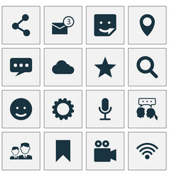 Internet icons set collection of inbox camcorder vector