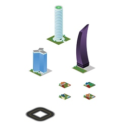 Isometric city misc buildings pack vector