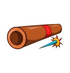 Ninja bamboo tube with arrow icon cartoon style vector