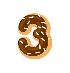 Number 3 donut doughnut font three sweet alphabet vector