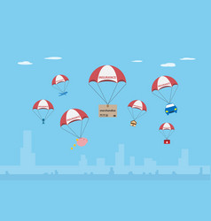 Objects with insurance parachute vector