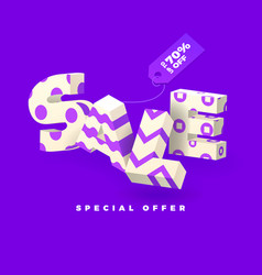 sale 3d sign purple invert vector image vector image