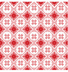 Scandinavian cross stitch pattern with snowflake vector