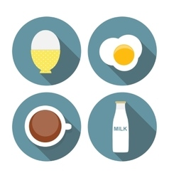 Scrambled egg soft-boiled egg milk coffee icon vector