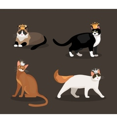 Set of four cats wearing crowns vector image vector image