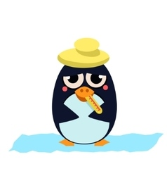 Sick penguin with thermometer vector