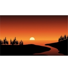 Silhouette of river and sea vector