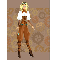 Steampunk girl vector image vector image