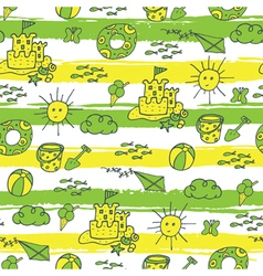 Summer pattern beach green yellow vector