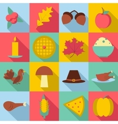 Thanksgiving Day Autumn icons set flat style vector image