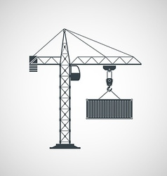 The crane lifts the container vector