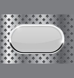 White oval button with chrome frame on metal vector