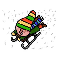 winter child riding sleigh vector image vector image
