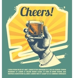 Hand with drink glass retro party poster vector