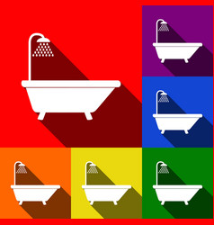 Bathtub sign  set of icons with flat vector
