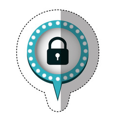 Sticker of padlock and circular speech with blue vector