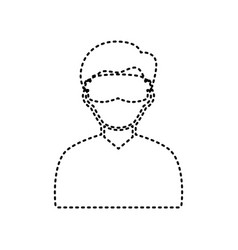 Man with sleeping mask sign black dashed vector