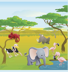 Cute african safari animal cartoon scene vector