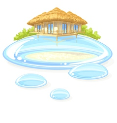 Water bungalow vector