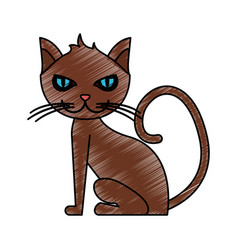 Color pencil cartoon front view cat animal sitting vector