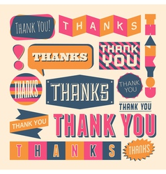 retro style thank you design elelements set vector image