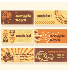 Retro background cards vector