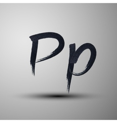 Calligraphic hand-drawn marker or ink letter p vector