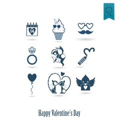 Happy valentines day icons vector