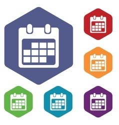 Calendar sheet icon hexagon set vector