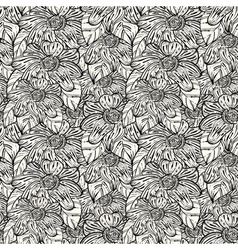 seamless monochrome pattern with abstract flowers vector image
