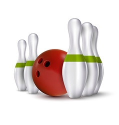 Ball and pins of bowling realistic skittles with vector