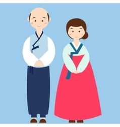 Couple wearing korean traditional clothes costume vector
