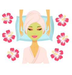 Woman having beauty treatment vector image