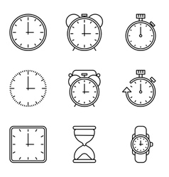 Time and clock line icons set vector