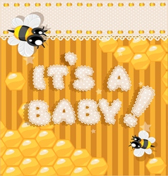 Its a baby yellow honey announcement card vector