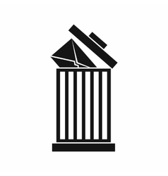 Envelope in trash bin icon simple style vector