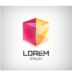 abstract 3d cube construction logo vector image vector image