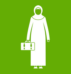Arabic woman icon green vector