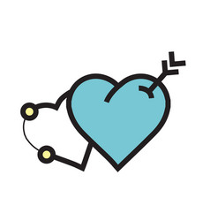 Arrow on two heart icon blue vector