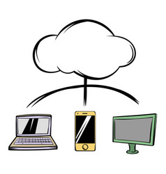 cloud-computing connection icon cartoon vector image